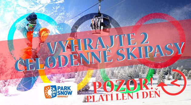 Vyhrajte 2 celodenné skipasy v stredisku PARK SNOW Donovaly - súťažte len dnes!