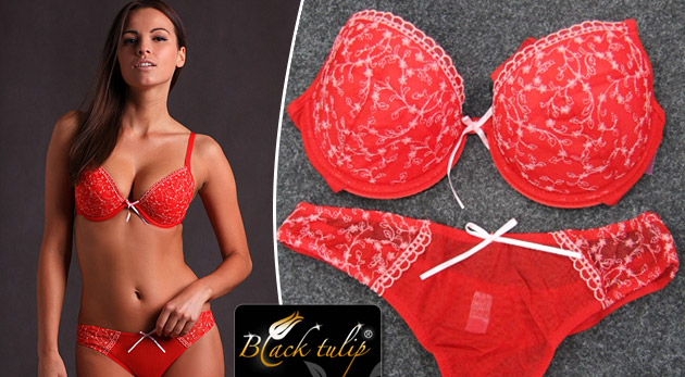 1ad295ee0 Kvalitná dámska spodná bielizeň - súprava Liliy červenej farby: podprsenka  a tango nohavičky len za