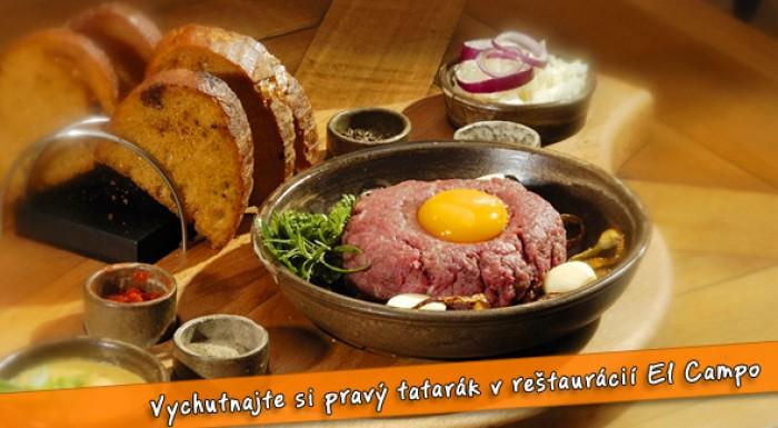 Výborný tatarský biftek v centre mesta za polovicu.