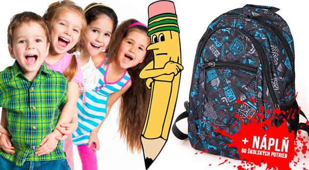 4fd39407b9 Školský batoh s náplňou 60 školských a písacích po