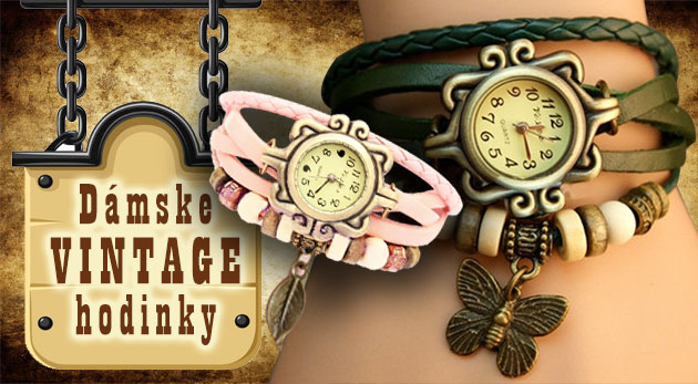 Dizajnové hodinky pre dámy s ozdobným remienkom v obľúbenom štýle VINTAGE 168633f3d2