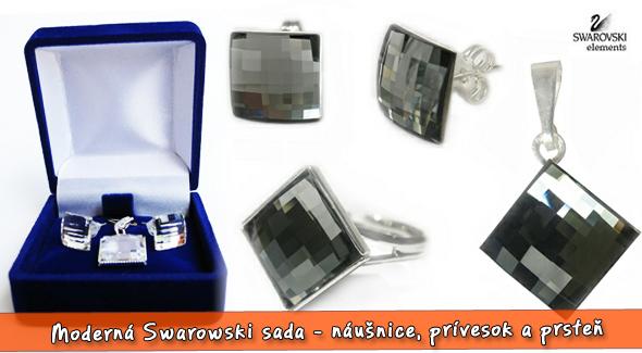 3 dielna Swarovski sada šperkov: náušnice, prívesok a prsteň.