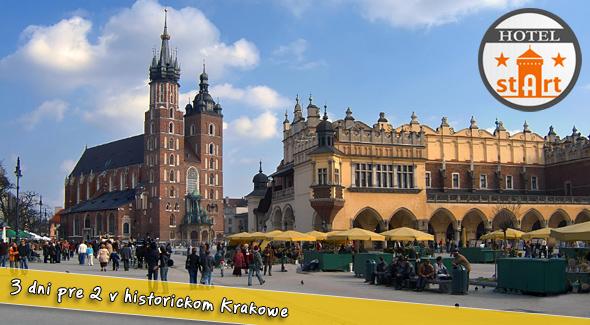 Pobyt v Krakowe pre dvojicu za polovičnú cenu na 3 dni.