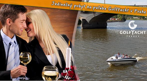 Luxusný relax pre dvoch na palube elegantnej lodi golfYacht Prague Hotel & Restaurant.