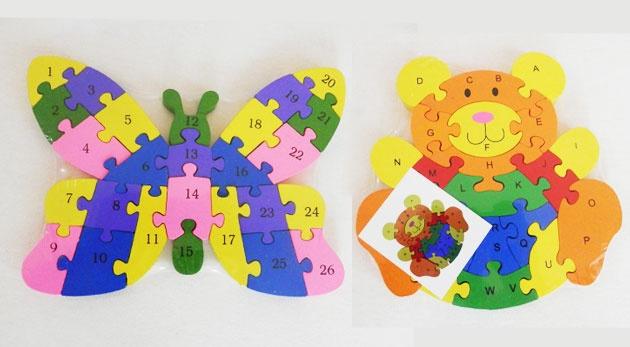 Náučné detské puzzle s číslami a abecedou.