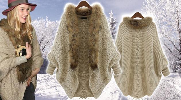 Efektný a teplučký sveter s kožušinkou pre štýlové ženy