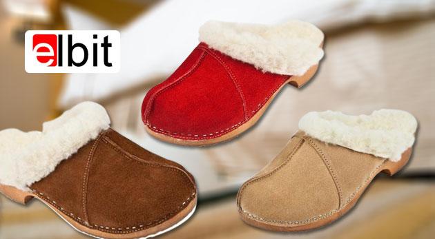 Zateplené papuče s ovčou vlnou alebo švédske kožené dreváky pre dámy i pánov