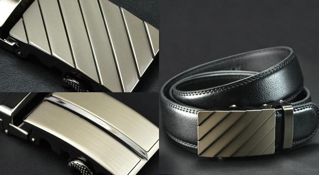 Luxusný kožený pánsky opasok s oceľovou prackou