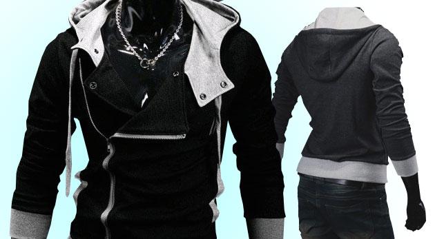 7ac87183296e Univerzálna pánska mikina na zips s veľkou kapucňou v čiernej alebo šedej  farbe
