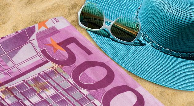 Plážové osušky - motív eurobankovky alebo dolára