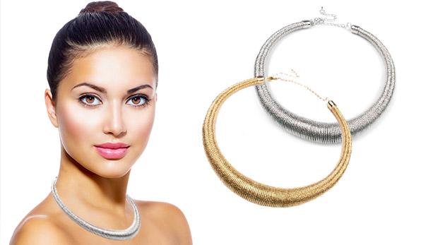 Kovový špirálový náhrdelník v dvoch farbách