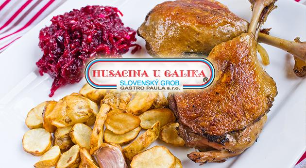 4-chodové promočné kačacie alebo husacie menu pre piatich v Slovenskom Grobe