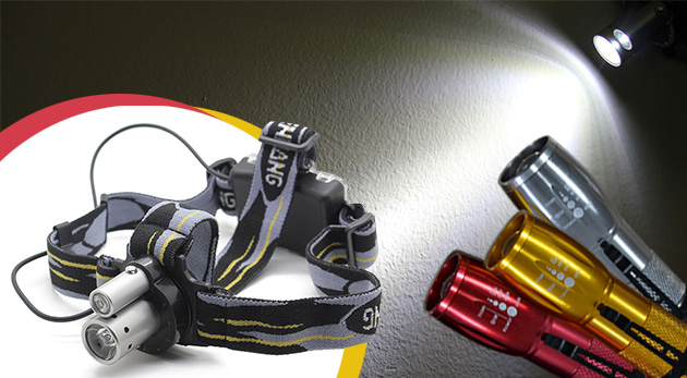 Výkonná LED baterka s klipom alebo profesionálna LED čelovka s laserovým ukazovátkom