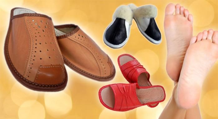 Kvalitné kožené ortopedické papuče pre dámy, pánov i deti.