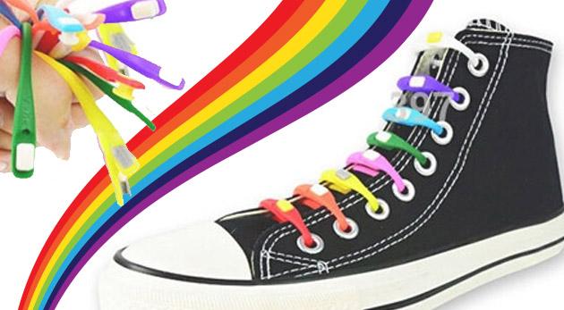Originálne silikónové šnúrky do topánok v 8 farbách - akcia 3+1 zadarmo