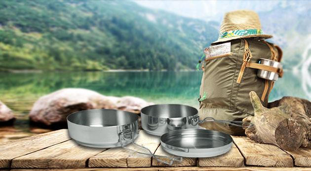 Kempingový riad z kvalitného nerezu - 3 dielny