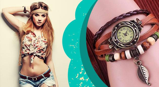 Dizajnové hodinky pre dámy s ozdobným remienkom v obľúbenom štýle VINTAGE