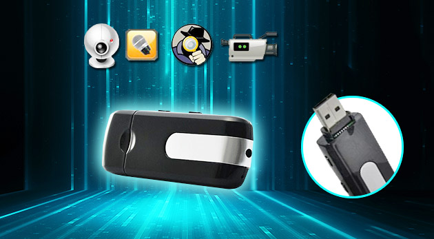 USB kľúč s kamerou pre nahrávanie videí, fotografií a zvuku