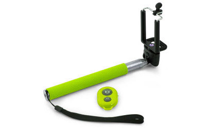 Teleskopický bluetooth selfie držiak - farba zelená