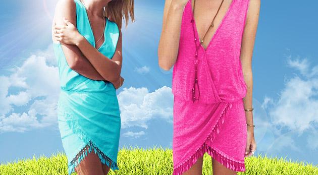 Príjemné letné šaty so strapcami v 3 farbách