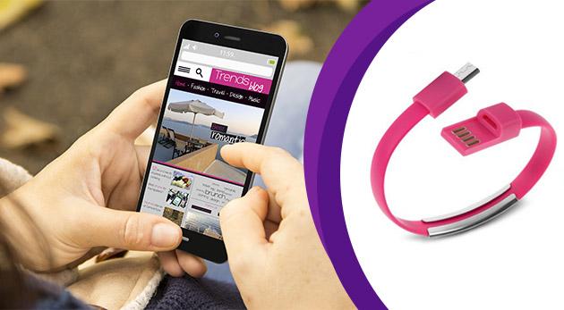 USB nabíjací a dátový kábel v trendy náramku