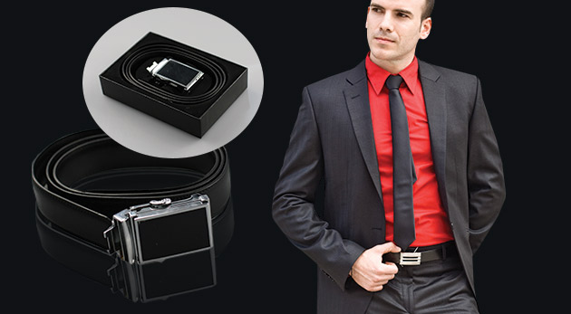 Elegantné pánske opasky z kože v darčekovej krabičke, na výber z 3 vzorov