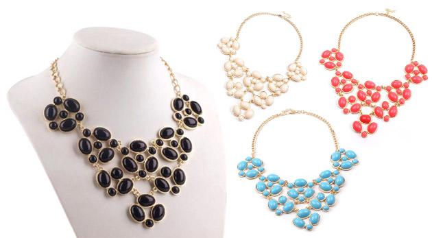 Originálny náhrdelník s kamienkami v 4 farbách