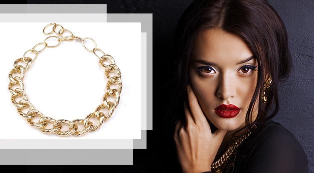 Masívny kovový náhrdelník - zlatá farba za 5,90 €