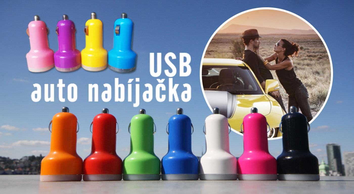 """Fotka zľavy: Pohotovostná USB auto nabíjačka len za 3,90 €. Dobite si svojich elektronických """"pomocníkov"""" počas cesty autom. 2 USB výstupy, 10 farebných variácií."""