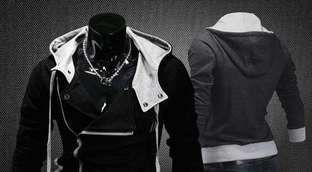 Trendy pánska mikina na zips s veľkou kapucňou v čiernej alebo šedej farbe