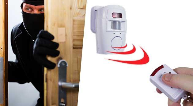Prenosný alarm na baterky s diaľkovým ovládaním