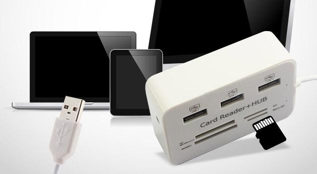 USB rozbočovač a čítačka pamäťových kariet v jednom