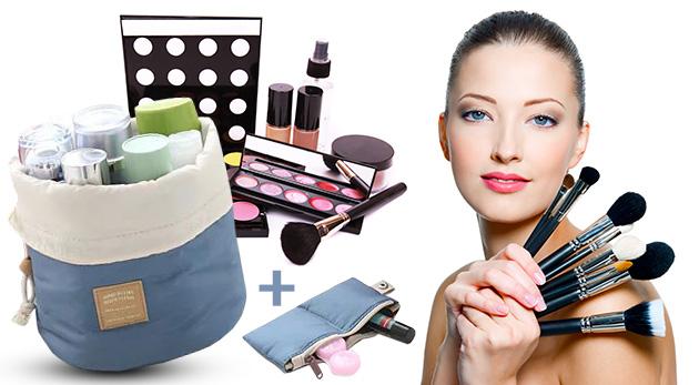 Praktická taška s priehradkami v ružovej alebo modrej farbe