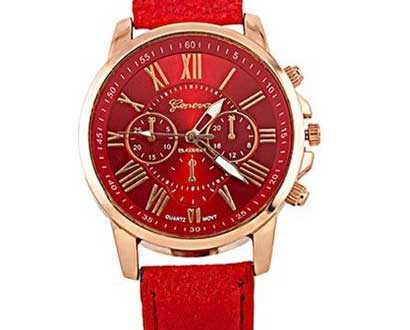 Dámske hodinky Geneva Platinum - farba červená