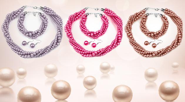 Krásny perlový set náhrdelníku, náušníc a náramku