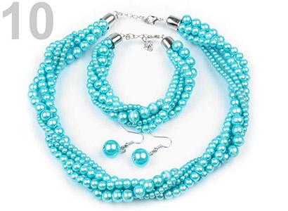 Set voskovaných perál - náhrdelník, náušnice, náramok, farba č. 10: azúrová