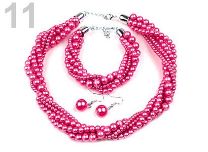 Set voskovaných perál - náhrdelník, náušnice, náramok, farba č. 11: ružová sýta