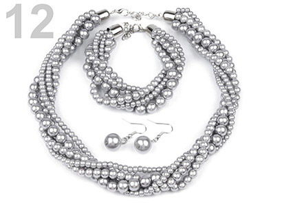 Set voskovaných perál - náhrdelník, náušnice, náramok, farba č. 12: šedá