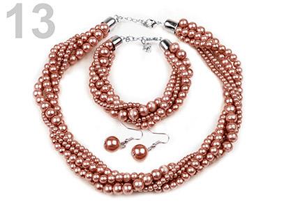 Set voskovaných perál - náhrdelník, náušnice, náramok, farba č. 13: svetlohnedá