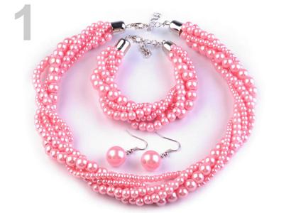 Set voskovaných perál - náhrdelník, náušnice, náramok, farba č. 1: ružová