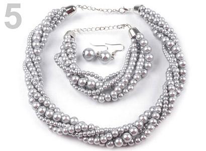 Set voskovaných perál - náhrdelník, náušnice, náramok, farba č. 5: strieborná