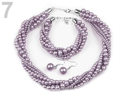 Set voskovaných perál - náhrdelník, náušnice, náramok, farba č. 7: fialová