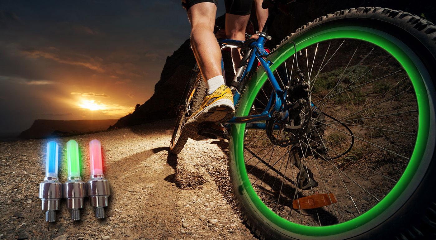 LED farebné svetlo na kolesá - svetelný doplnok na bicykel či motorku
