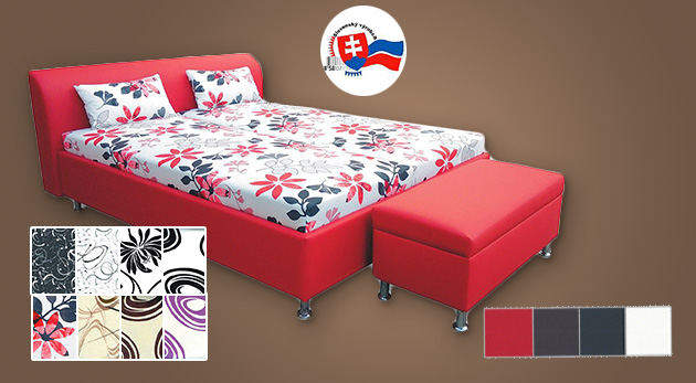 Koženková posteľ pre dvojicu s matracom a úložným priestorom