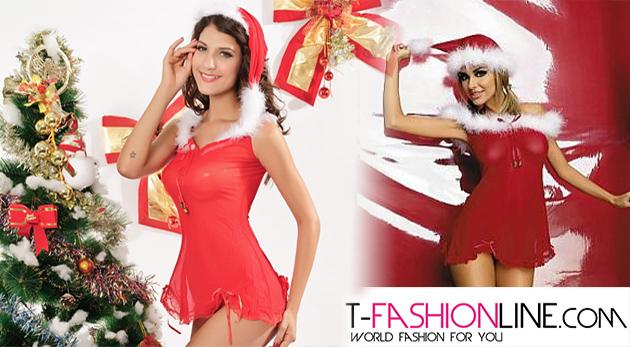 Trojdielny set - Vianočná košieľka sexi Santa, čiapočka a nohavičky. Buďte zvodná a urobte radosť svojmu partnerovi.