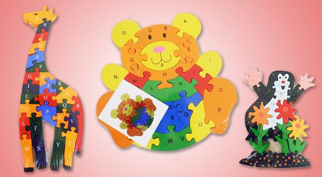 Náučné detské puzzle s číslami a abecedou