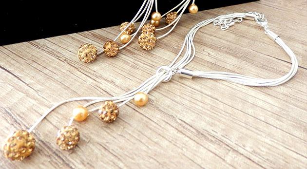 Set šperkov so striebornou úpravou - 4 dielny