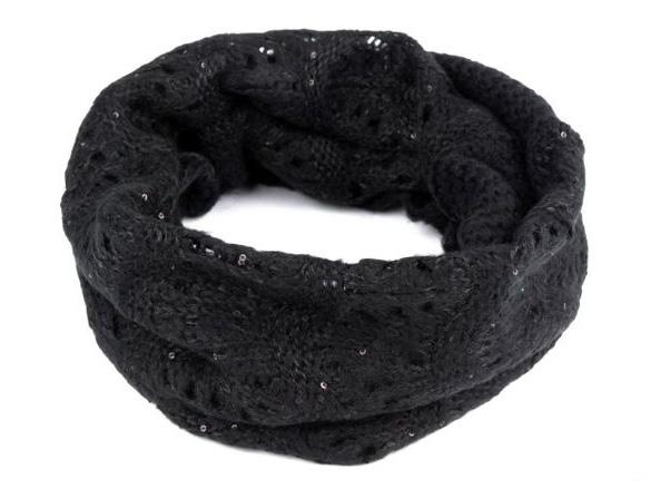 Dámsky pletený nákrčník s flitrami - čierna farba