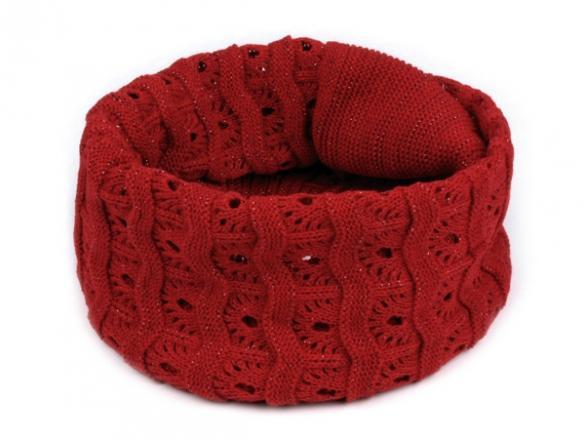 Dámsky pletený nákrčník s lurexom - červená farba