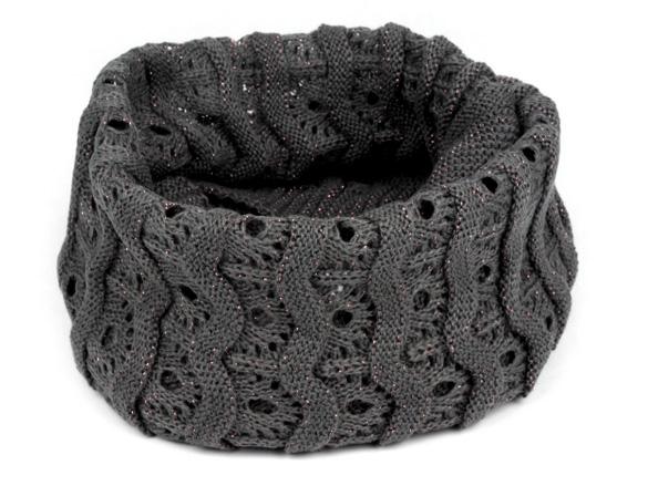 Dámsky pletený nákrčník s lurexom - šedá farba